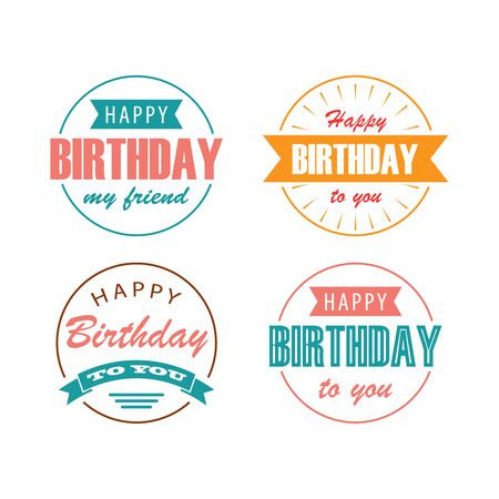 Collection birthday vintage with lettering in round designvector eps 10