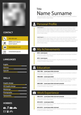 Professional personal resume cv with stripes in black yellow design