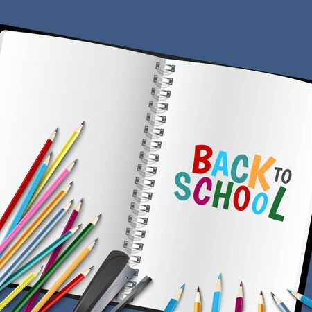 Back to school poster with diary and colored crayons vector eps 10 Illustration