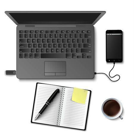 Creative business design workspace mock up on white background vector eps 10 Illustration