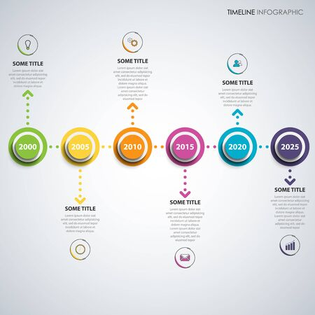 Time line info graphic with colored round pointers and arrows vector eps 10