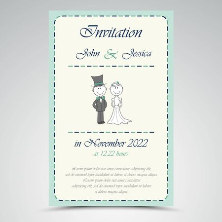 Wedding announcement with figures in blue design Illustration