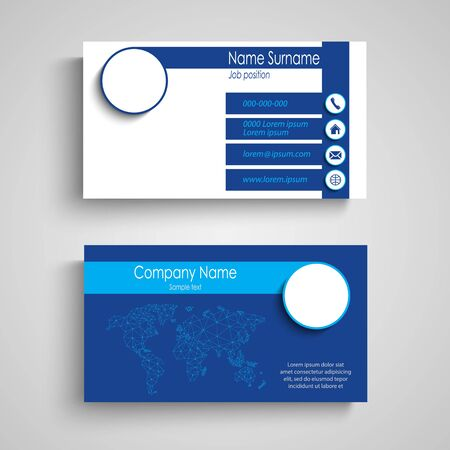 Business card with stripes in simple blue design vector eps 10