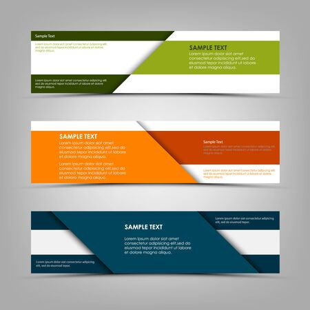 Collection abstract banners in tricolor design with stripes vector eps 10 Illustration