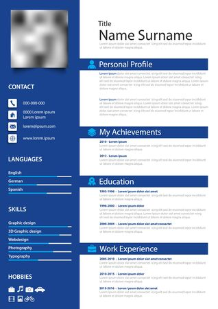 Professional personal resume cv with stripes in simple blue design vector eps 10