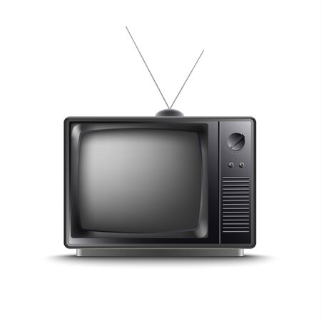 Retro old television in dark design on white background vector eps 10