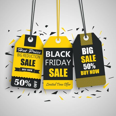 Black friday sale tags in yellow black white design template vector eps 10