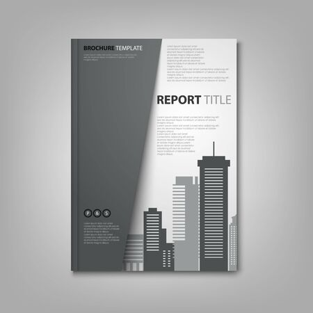 Brochures book or flyer with city silhouette in black white design vector eps 10