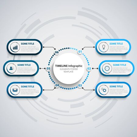 Info graphic with oval pointers in blue design template vector eps 10 Illustration