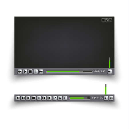 Video player for the web with design buttons vector