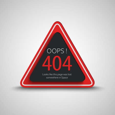 Page not found error on triangle in red black design vector
