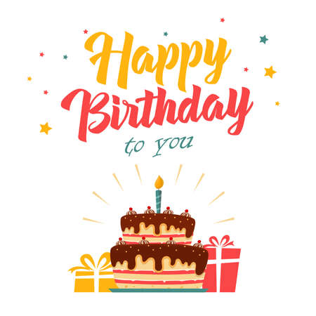 Birthday card with cake and gifts on white background vector