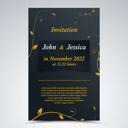 Wedding announcement with leaves in blue yellow design vector