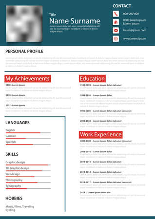 Professional personal resume cv with border in blue red design vector Illustration