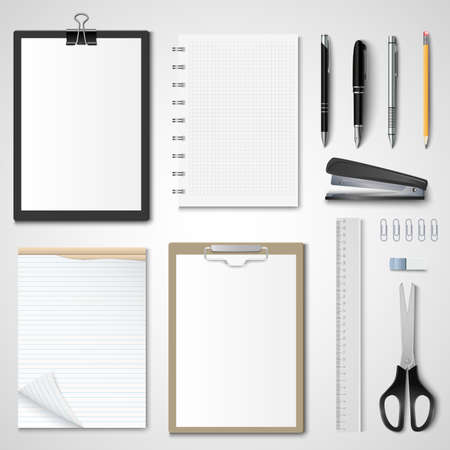 Collection of office supplies on bright background