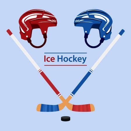 Ice hockey poster in flat design with puck helmet and stick Ilustração