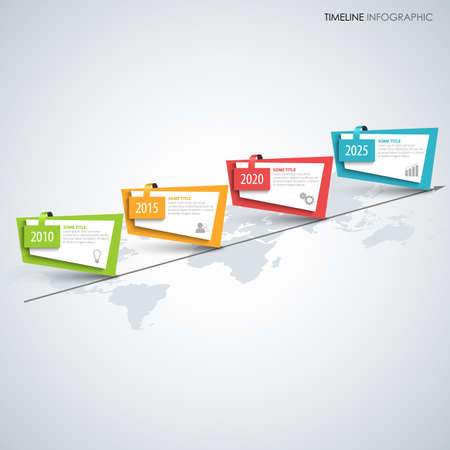 Time line info graphic with abstract colored oblique pointers