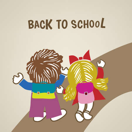 Back to school poster with boy and girl on the road