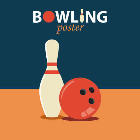 Bowling flat poster with ball and pin template
