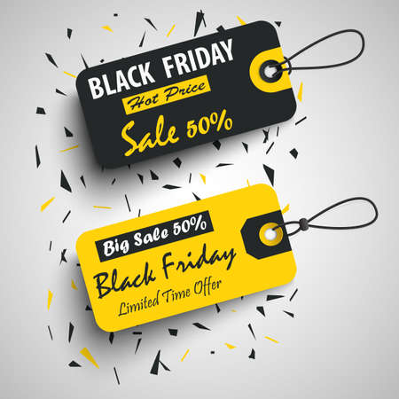 Black friday sale tags stikers pointers in black yellow design template Vettoriali