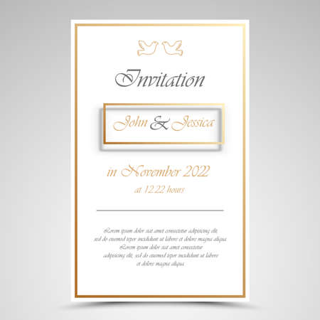 Wedding announcement with frame in gold white design