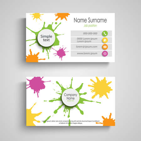 Business card with colorful design spots template 向量圖像