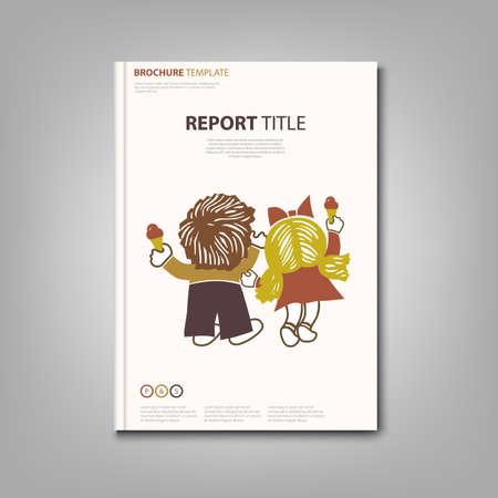 Brochures book or flyer with boy and little girl ice cream template Ilustración de vector