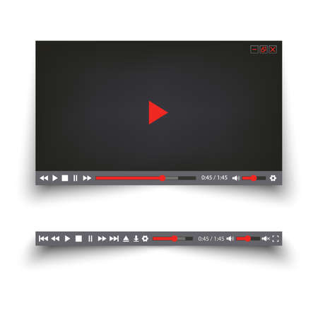 Video player for the web with simple design buttons template Ilustração