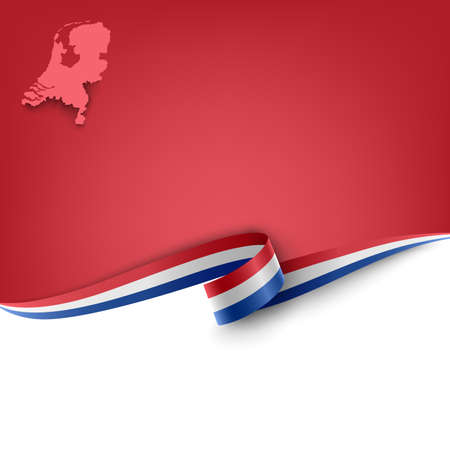 Document with ribbon and map Kingdom of the Netherlands template Ilustração