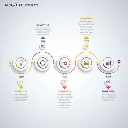 Info graphic with round white pointers and arches template