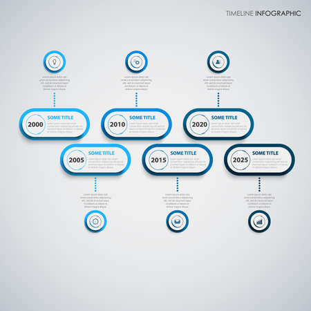 Time line info graphic oval pointers in blue design
