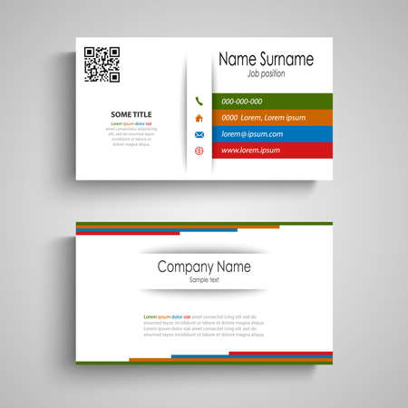Business card with colored design stripes on white background vector eps 10