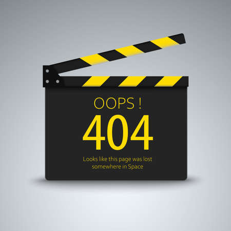 Page not found error with film flap design vector eps 10