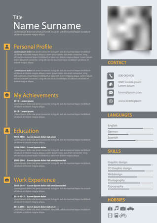 Professional personal resume cv in gray design with stripes template vector eps 10
