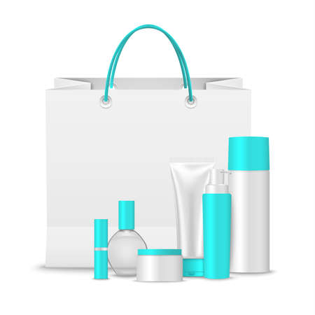 Paper shopping bag with collection of cosmetics in light blue design template vector eps 10