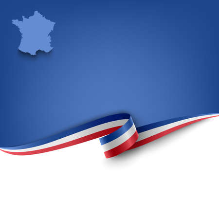Document with ribbon and map the French Republic template