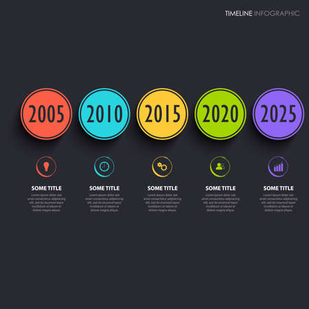 Time line info graphic with round colored pointers on dark background vector eps 10