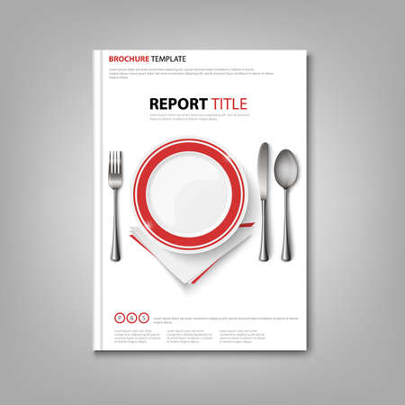 Brochures book or flyer with plate and cutlery in the background vector eps 10