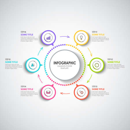 Info graphic with abstract round design stickers template vector eps 10 Vetores