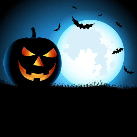 Halloween ghostly poster with pumpkins in blue black design vector eps 10