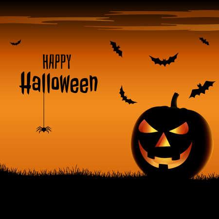 Halloween scary poster with pumpkins in orange design vector eps 10