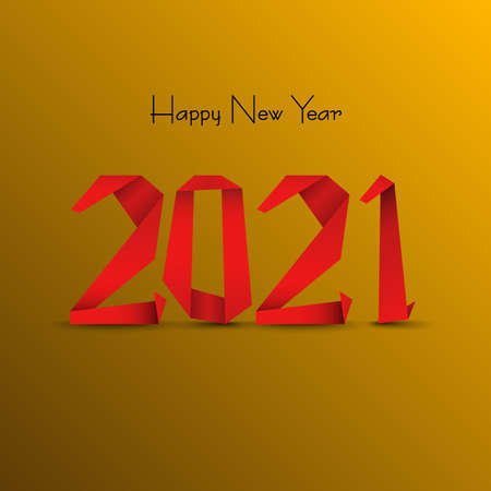 New Year background with abstract design folded paper in red orange design vector eps 10