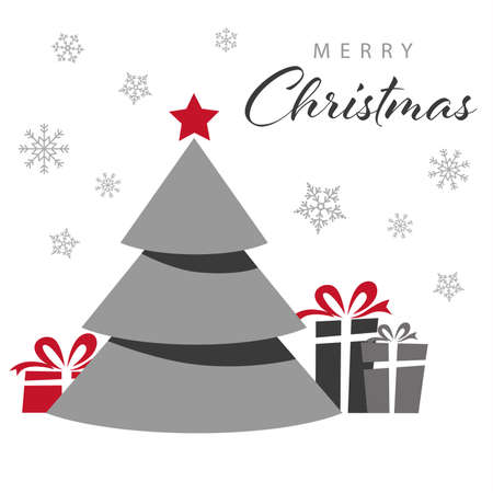 Christmas card with tree and gifts in simple style vector eps 10 Ilustração