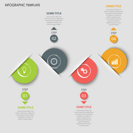 Info graphic with colored round tucked pointers template vector eps 10