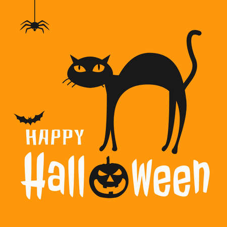 Halloween poster with cat and pumpkin in simple design vector eps 10