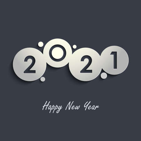New Year card with abstract rounds in gray design vector eps 10 Ilustração