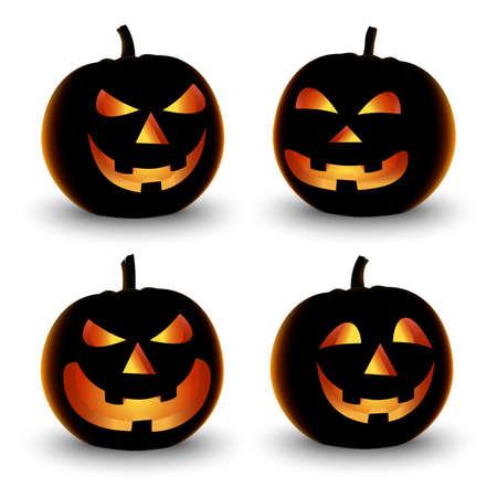 Collection of Halloween pumpkins in orange design vector eps 10 Ilustração