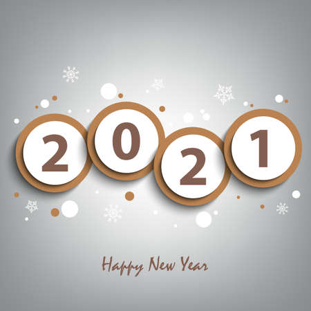 New Year background with round abstract numbers in brown design vector eps 10