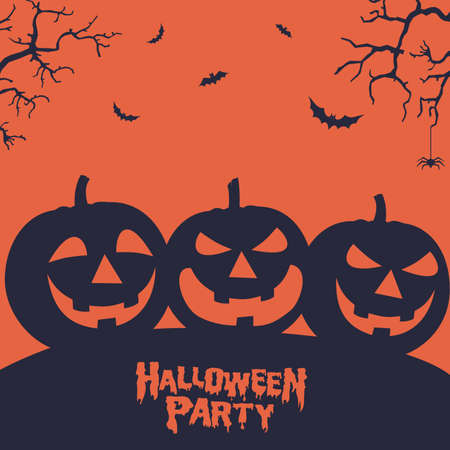 Halloween scary poster with pumpkins in retro design vector eps 10