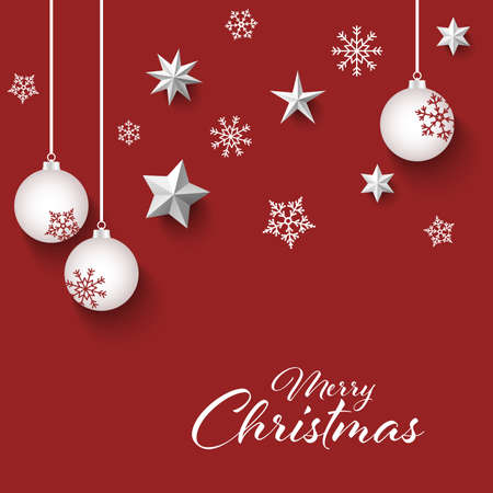 Christmas card with white balls and snowflakes in red design vector eps 10 Ilustração
